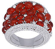 Judith Ripka Sterling Fire Opal and DiamoniqueSaddle Ring - J380554