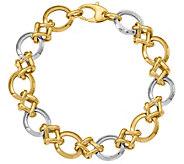 Italian Gold 8-1/2 Two-Tone Round Link Bracelet 14K, 10.2g - J381654