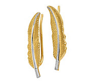 14K Gold Two-Tone Feather Climber Earrings - J381854