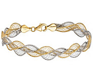 Italian Gold 7-1/4 Two-Tone Mesh Bracelet 14K,4.8g - J382054