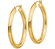 14K Gold 1-1/8 Polished Hoop Earrings, 1.9g - J382154