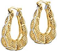 Italian Gold 1-1/8 Filigree Oval Hoop Earrings14K, 4.5g - J382254