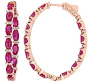 14K Gold 6.45 cttw Ruby & Diamond Oval Hoop Earrings - J382354