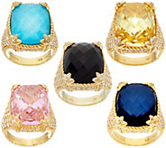 Judith Ripka 14K Clad Gemstone & Diamonique Monaco Ring - J56054