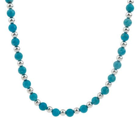 sterling kingman turquoise 6 0mm bead adjustable necklace page 1 qvc