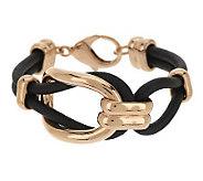 Bronze Oval Status Link Black Leather Bracelet by Bronzo Italia - J285855