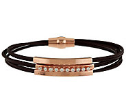 VicenzaSilver Sterling Diamonique Station Leather Bracelet - J288255