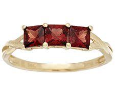 1.00 ct tw Princess Cut Mozambique Garnet Ring, 14K Gold