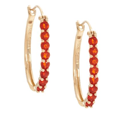0.60 ct tw Mexican Fire Opal Hoop Earrings 14K Gold - J290555