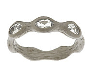 Vicenza Silver Sterling 0.60 ct tw White Topaz Station Ring - J291755