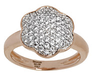 Bronze Pave Crystal Flower Design Ring by Bronzo Italia - J293355