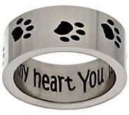 Stainless Steel You Left Your Paw Prints on My Heart Ring - J296055