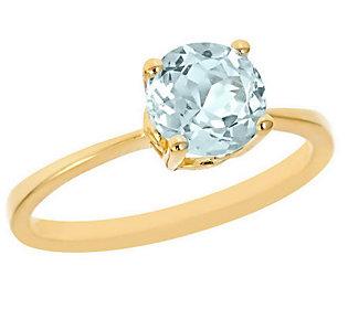 1.00 ct Round Aquamarine Ring, 14K Yellow Gold