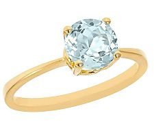 1.00 ct Round Aquamarine Ring, 14K Yellow Gold