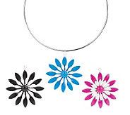 Set of 3 Interchangeable Flower Pendants on Wire Necklace - J306655