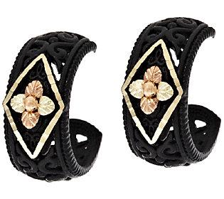 Product image of Black Hills Midnight Eclipse Diamond Cut Hoop Earrings, 12K