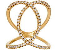 Diamonique Interlocking Oval Design Ring, Sterling or 18K Clad - J318655