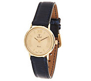 Vicence Roman Numeral Round Case Leather Strap Watch, 14K - J319455