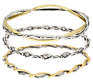 Carolyn Pollack Sterling Silver & Brass Set of Three Bangles - J319755