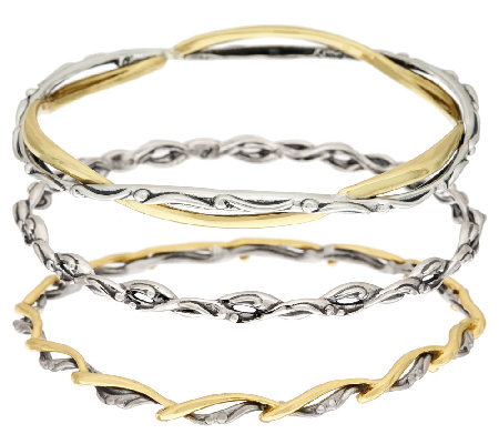 Carolyn pollack sterling silver brass set of three for Carolyn pollack jewelry qvc