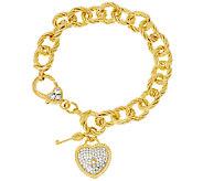 Judith Ripka Verona 7 1/4 Sterling & 14K Clad Charm Bracelet 33.4g - J320055