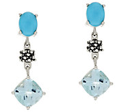 Michael Dawkins Sterling 4.00ct wt Blue Topaz & Sleeping Beauty Dangle Earrings - J320355