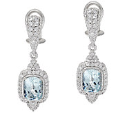 Judith Ripka Sterling 2.25 cttw Aquamarine Drop Earrings - J320455