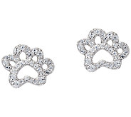 Diamonique Paw Print Stud Earrings, Sterling - J321655