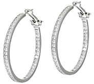 Diamonique 4.30 cttw 1-1/2 Round Hoop Earrings, Sterling - J325055