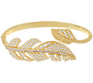 Judith Ripka 14K Clad 3.65 cttw Diamonique Feather Cuff Bracelet - J325455