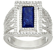 Judith Ripka Sterling Lapis & Diamonique Ring - J327155