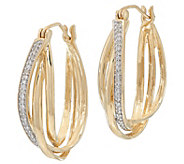 1 Diamond Hoop Earrings, 1/7 cttw, 14K Gold, by Affinity - J328255