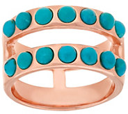 As Is Bronze Double Row Turquoise Band Ring by Bronzo Italia - J328355
