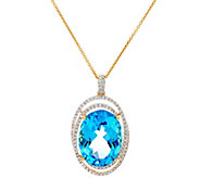 20 ct Swiss Blue Topaz & 7/10 cttw Diamond Pendant on Chain, 14K - J330255