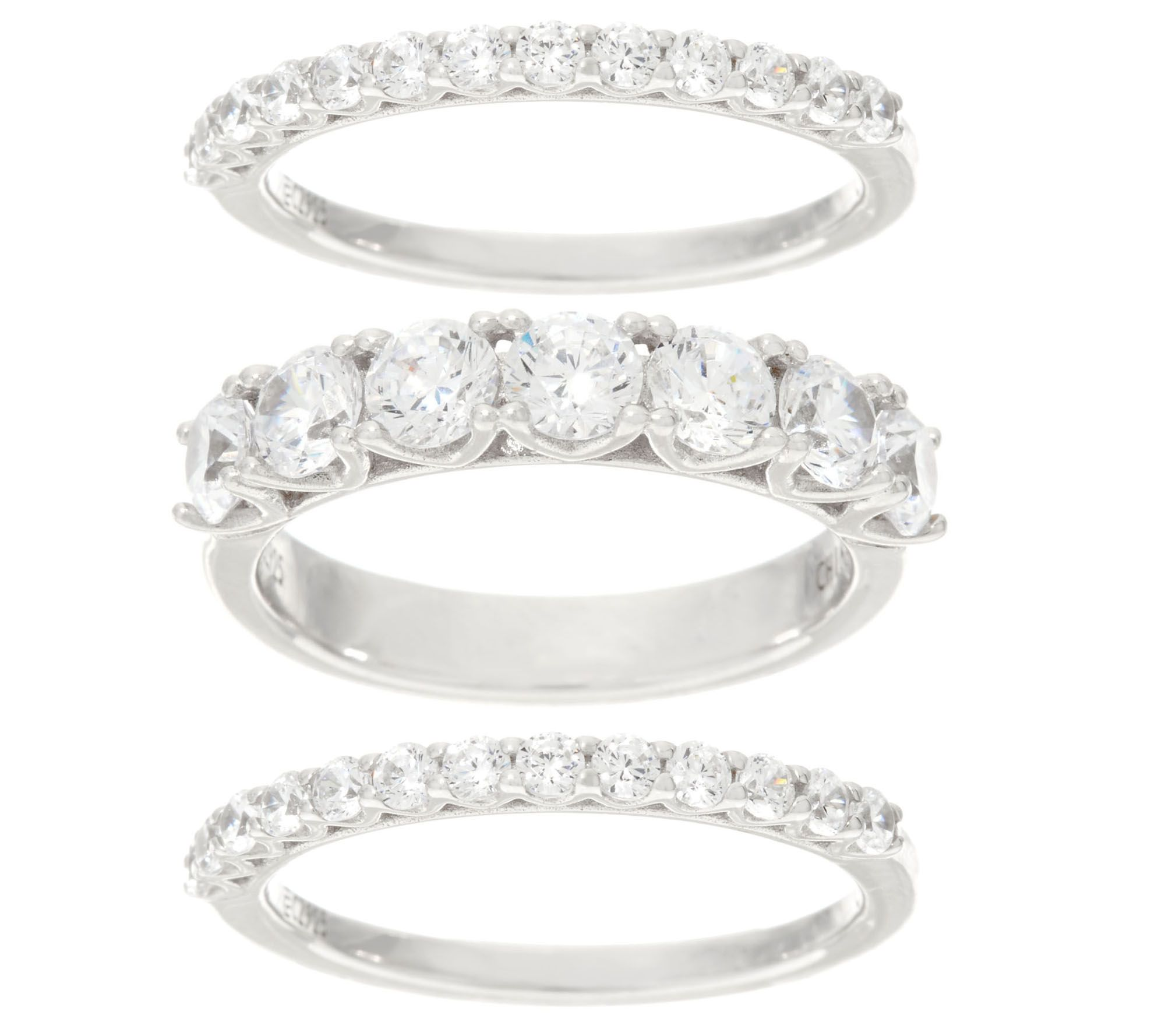 Diamonique Set Of Three Band Rings, Platinum Clad  J330455