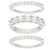 Diamonique Set of Three Band Rings, Platinum Clad - J330455