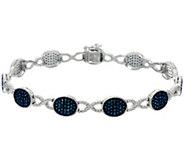 Blue Diamond 8 Station Bracelet, Sterling, 1.55 cttw, Affinity - J330555