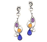 As Is Carolyn Pollack Sterl. &Multi-Gemstone Scroll Dangle Earrings - J332955