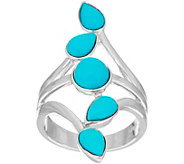 Multi-Cut Sleeping Beauty Turquoise Sterling Elongated Ring - J335655