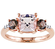 Three-Stone 2.15cttw Morganite & Smoky Quartz Ring, Sterling - J336755