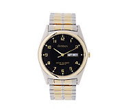 Armitron Mens Two-Tone Expansion Band with Black Dial - J338755
