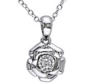 Diamond Flower Pendant w/ Chain, Sterling, by Affinity - J339455