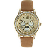 Peugeot Womens Suede Strap Moon Phase Watch - J341155