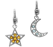 Judith Ripka Sterling Gemstone Moon and Star Charm Set - J341855