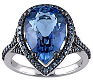 6.70 ct London Blue Topaz & 4/10 cttw Blue Diamond Ring, 14K - J343355
