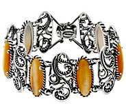 Carolyn Pollack Sterling Silver Mother-of-Pearl Signature Link Bracelet - J347055