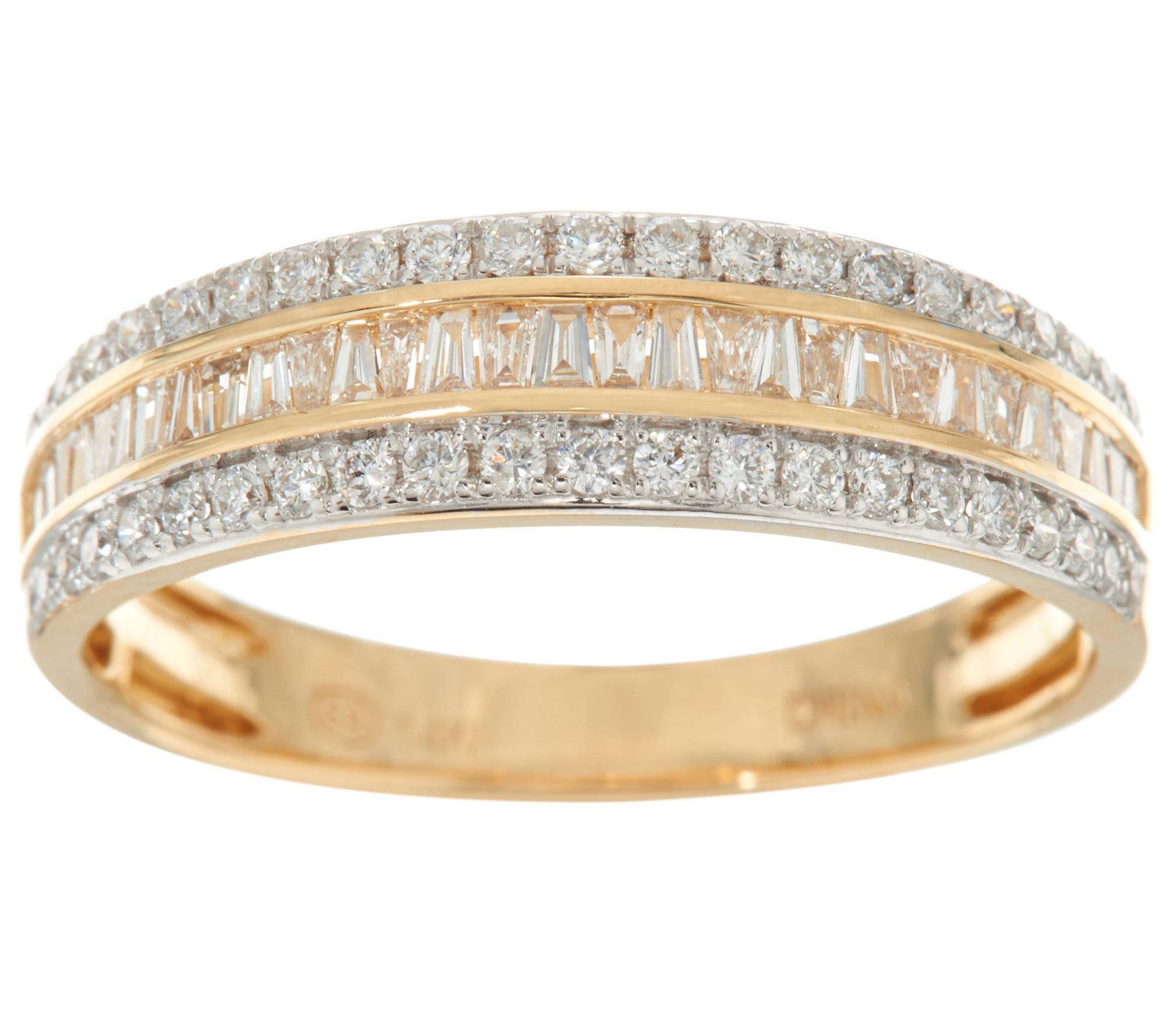 fine baguette wide jewelry diamond white round anniversary bands gold and band