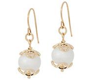 As Is Italian Gold 8.0mm Cultured Pearl Drop Earrings, 14K Gold - J348555
