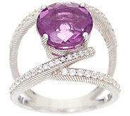 Judith Ripka Sterling Silver Purple Fluorite & Diamonique Open Ring - J348655