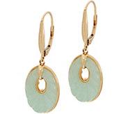 Carved Burmese Jade Lever Back Earrings, 14K - J349955